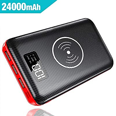 Gnceei Power Bank Wireless QI Battery Pack 24000mAh High Capacity Portable Charger with Digital Display LCD Screen, 3 USB Output & Dual Input for Iphone,Sumgsung,Ipad,Tablet and So on … …