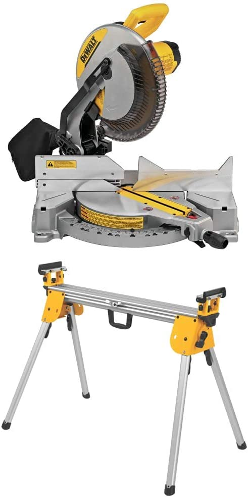 DEWALT 12-Inch Miter Saw, 15-Amp, Single Bevel, Compound (DWS715) & Miter Saw Stand, Compact (DWX724), Silver