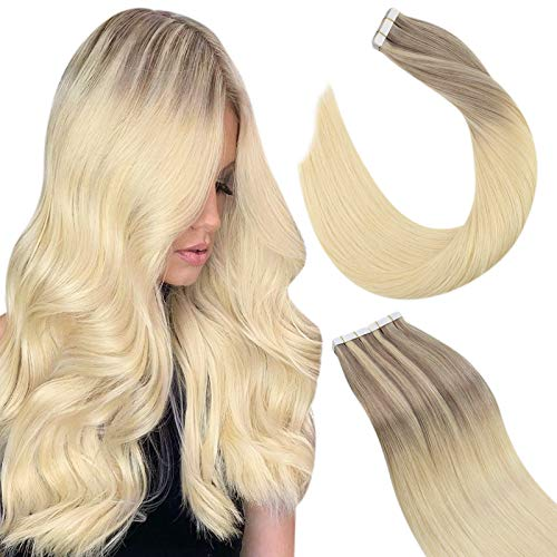 Ugeat Tape Adhesive Cheveux Vrais Extension 16 Pouces Tape Extensions Adhesif 50G 20PCS Ruban Adhesif Tape Remy Hair Extension #18/22/60 Blonde Tape in Hair Extensions