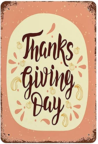 Thanks Giving Day Fall Garland Poster,Vintage Metal Tin Sign Wall Decor Art 15.7'x11.8' family cafe wall decoration, Retro Art Painting Iron Plate Poster Wall Decor