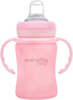 Everyday Spill-free Silicone Coated Extra light BPA free Baby Glass Sippy Cup Shatter Protected Water Bottle Rose Pink, 15...