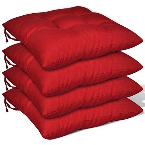 Lot 4 pz Coussin pour fauteuil haut 8 cm Rouge