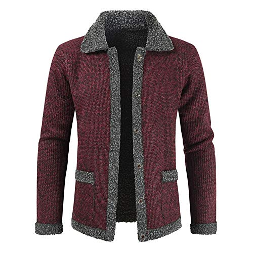 Coat Heren The New Man Taxi Velvet Leisure effen kleur coltrui Single-breasted Cardigan Jacket Voor Koud Weer (Color : Red, Size : XL)