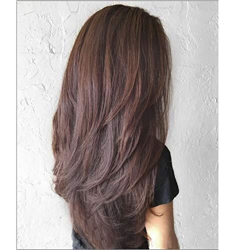 VEBONNY Ombre Schwarz Braun Lace Front Perücken für Frauen Braun Synthetisches Haar Perücken Braun Wellenförmige Perücke Beste Perücke 22 Zoll VEBONNY-009