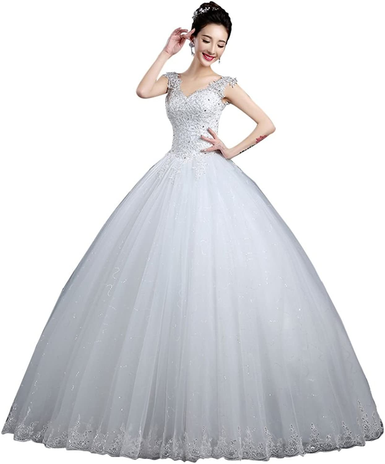 BeautyEmily VNeck Lace Floor Length Tulle Wedding Gowns for Bride