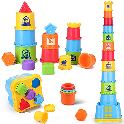 iPlay, iLearn Baby Stacking Toys, Toddler Nesting Stack Cups, Infant Stackable Block, Kids Sorting Game W/ Shape Sorter for Sand Bath, Birthday Gifts for 12 18 24 Month, 1 2 3 Year Old Boys Girls