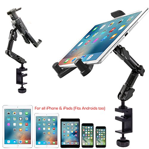 ChargerCity Heavy Duty Aluminum Alloy Pole/Bar Mic Microphone cymbal Stand Tablet Smartphone Holder Zoom Meeting Clamp Mount for iPad Pro Air Mini i-Phone XS 11 12 MAX Samsung Galaxy Tab S20 S21