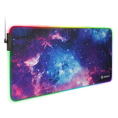ENHANCE Extra Large LED Gaming Mouse Pad - Soft XXL Desk Mat with 7 RGB Colors, 3 Color Modes, Smart Control, Water Resistant High Speed Tracking Surface (Galaxy) - Extended Pad - 31.5 x 14 inches