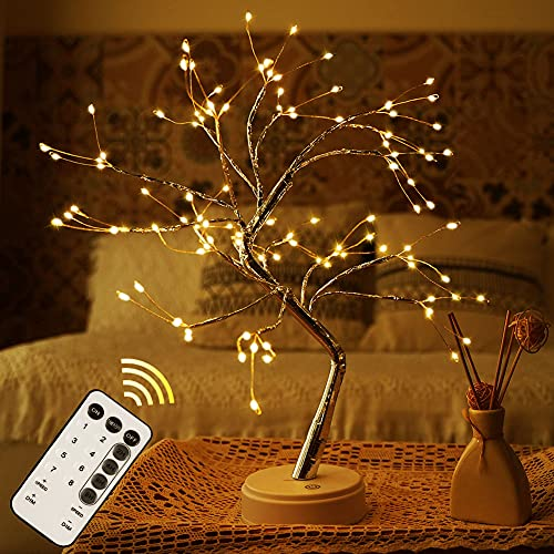 Fairy Light Tree,Firefly Sparkly Tree Lamp,Tree Lamp with Remote,Bonsai Spirit Tree Lamp,Led Cute Night Light for Living Room,Bedroom,Room Decor,House Decor,Home Decorations(Warm White)