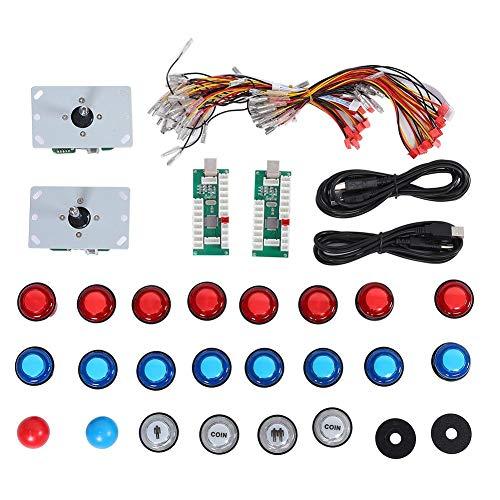 Joystick Arcade faça-você-mesmo, conjunto de joystick de jogo Arcade faça-você-mesmo, controlador de jogo USB, painel de controle de chip de computador para PS3/PC gamepad com luz, suporta várias plataformas