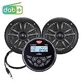 Marine Audio System Stereo Speaker Package, Bluetooth, MP3 USB DAB+ AM FM Marine Stereo - 2 x 6.5 Inch Black...