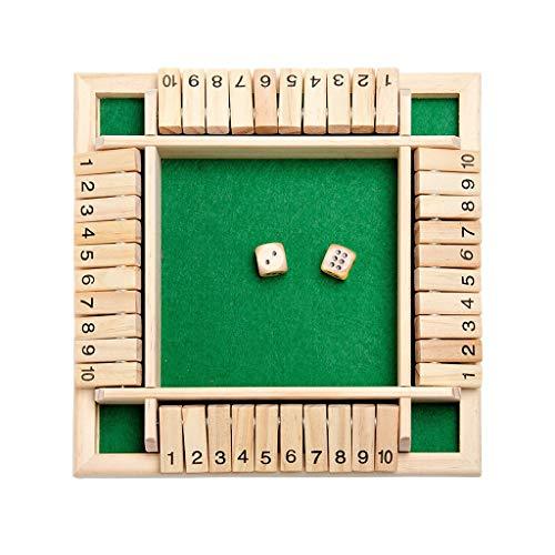 Preisvergleich Produktbild HSKbcim Holz Brettspiel,  4-Spieler Shut The Box Würfelspiel Mathematik Traditional Pub Board Reisen 4 Spieler Great Family Brettspiele