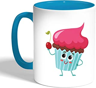Decalac Printed Coffee Mug, Turqoise Color, Food - cupcake, Ceramic