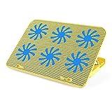 QCHEA Enfriador de PC - El más Potente - Acción de enfriamiento rápido - 6 Ventiladores Soporte ventilado Soporte de Placa de Juego Gamer, 36 * 25.5 * 2.7cm (Color : Gold)