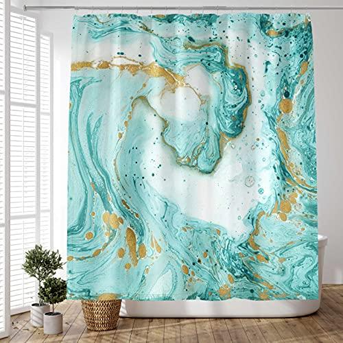 DundM Grüner Marmor Duschvorhang Wasserfarbe Blaugrün Golden Cracked Lines Türkis Stoff Badvorhang für Badezimmer Badewanne Home Decor Abstrakt Polyester Wasserdicht 182,9 x 182,9 cm mit 12 Duschhaken