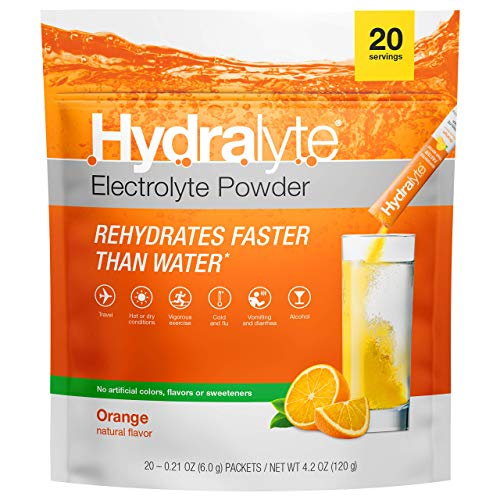 Hydralyte Electrolyte Powder Packets, All-Natural Hydration, Instant Dissolve ORS Drink Mix, Orange, 20 Count