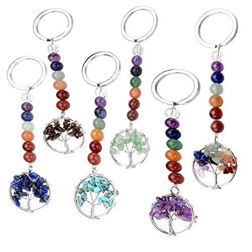 Top Plaza 7 Chakra Natural Gemstone Handmade Tree of Life Pendant Keychain Reiki Healing Crystal Beads Keyring for Best Friends Friendship Couple Family(6 Pcs)