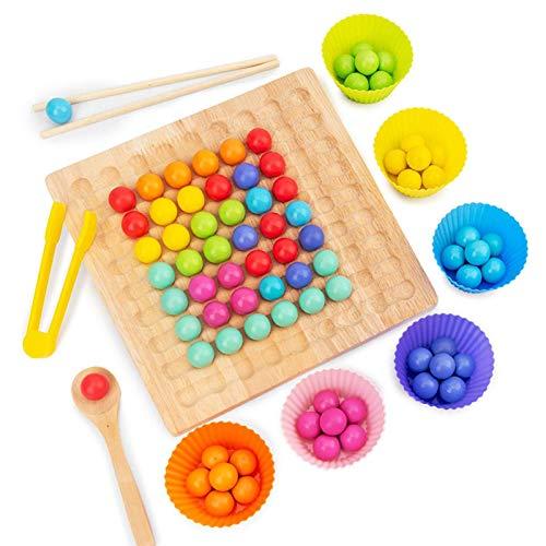 JYING Juguete de Clip de Madera con Cuentas de arcoíris con 80 Cuentas de Colores, Juego de Mesa de Rompecabezas de educación temprana, Juguete Preescolar Montessori para niños pequeños