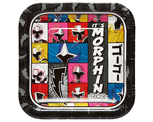 Power Rangers Ninja Steel 7' Square Paper Party Plates, 8-Pack