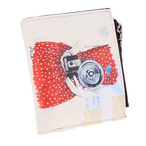 Sharplace Poche Femme Portefeuille Trousse Mini Pochette en Cuir Synthétique Cadeau Fille Mère - Color #1 (Caméra), 11,8 x 10,5 x 3,5 cm