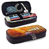 Otoño Bosque de gran capacidad de cuero durable lápiz caso maquillaje bolsa con cremallera para la escuela oficina