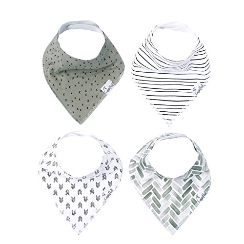 Baby Bandana Drool Bibs for Drooling and Teething 4 Pack Gift Set Unisex Monochrome