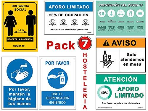 Set di segnali Coronavirus Hostelleria con 7 cartelli per bar, ristorante, caffetteria, terrazza, igiene, distanza, ecc. Cartelli autoinstallabili per COVID 19 - 21 x 30 cm