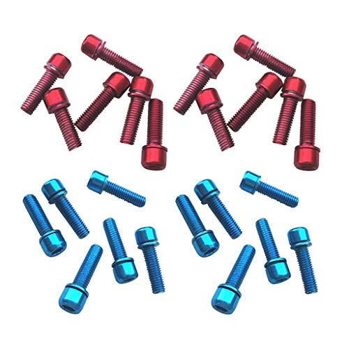 Amuzocity Tornillos de Cabeza Hexagonal de 24 Piezas M5x18 Reemplazo de Rejilla Trasera de Acero Al Carbono Rojo + Azul