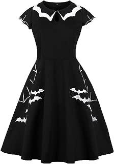 Wellwits Women's Plus Size Bat Spider Web Embroidery Halloween Vintage Dress
