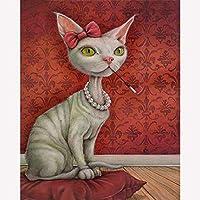 ダイヤモンドペインティングキット 大人用 喫煙猫・動物 刺繍 クロスステッチ クリスタルラインストーン モザイクペイント ホームデコレーション ギフト 30x40cm