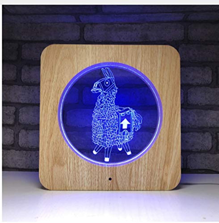 Leselampe Nachttischlampe Tischlampe Schreibtischlampe Tischleuchte Game Series Alpaca Llama 3D Led Lampe Usb Tischlampe Holzmaserung Lampe Für Room Decor Für Kinder