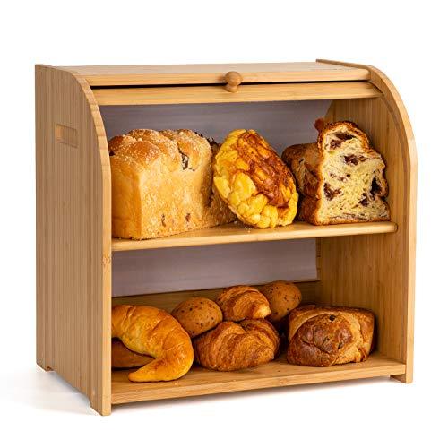 "Goodpick Bamboo Bread Box - 2 Layer Large Capacity Bread Box - Countertop Bread Storage Bin - Rolltop Breadbox for Kitchen Counter Large Capacity Bread Keeper,15"" x 14.2' x 9.8', Fully Assembled"