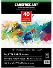 """EBIVEN Artist Pallets Pad Disposable Palette Papers for Oil Painting 12"""" x 16"""", 40 Sheets Pallet Paper for Acrylic Paint Mixing (02136-3)"""