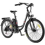 VIVI E Bike Damen Pedelec, 26 Zoll E-Bike Elektrofahrrad Citybike Elektrofahrräder mit Abnehmbarer 8Ah Lithium-Batterie, Shimano 7-Gang (26 Zoll Schwarz)