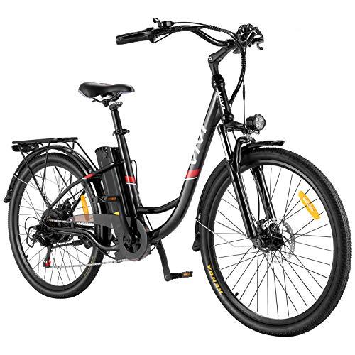 VIVI E-Bike Elektrofahrrad, 26 Zoll Pedelec Elektrisches Fahrrad Citybike Elektrofahrräder mit Abnehmbarer 8Ah Lithium-Batterie, Shimano 7-Gang (26 Zoll Schwarz)