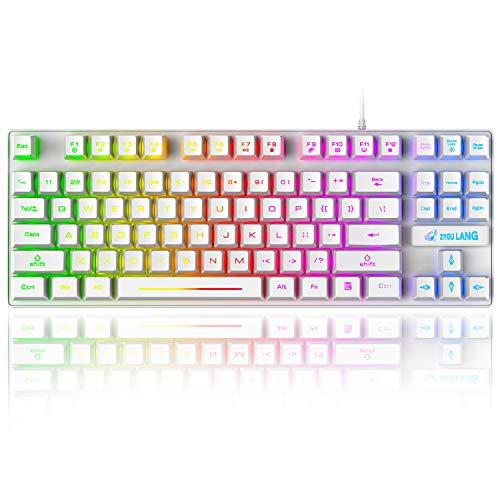 K16 tastiera da gioco con 87 tasti con cavo a 87 tasti, retroilluminazione a LED, impermeabile, ergonomica, 16 tasti, anti ghosting, tastiera per videogiochi compatibile con PC, ufficio, giochi