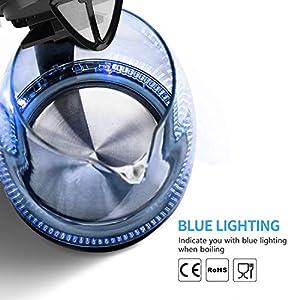 Aigostar Adam Borosilikatglas Wasserkocher mit LED-Beleuchtung, 2200 Watt, 1,7 Liter, Edelstahl 360°-Sockel, Abschaltautomatik, Trockenlaufschutz, Kalkfilter, BPA frei, Schwarz.