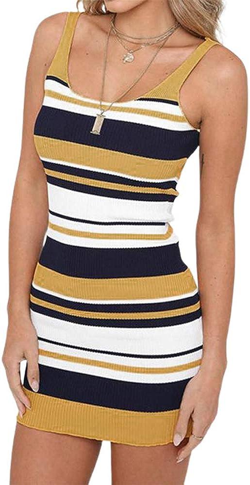 Langwyqu Women's Striped Slim Fit Bodycon Dress Sleeveless Sexy Soft Summer Dress
