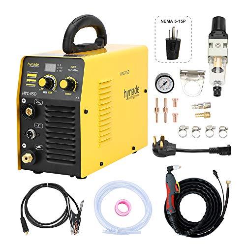 Plasma Cutter, Dual Voltage 115/230V plasma cutting machine, Inverter Metal Plasma Cutter Max Cutting Thickness 12mm (HYC45D 115/230V)