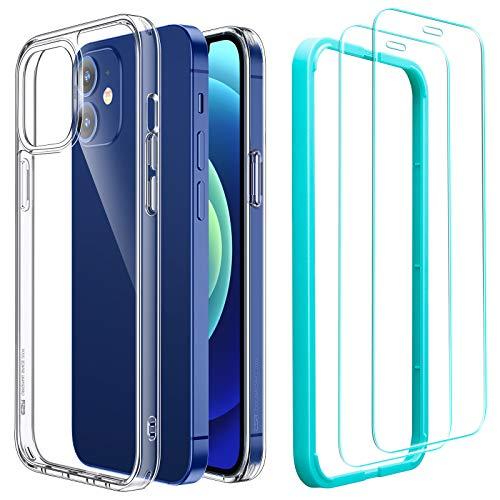 ESR Cover e 2 Pezzi Pellicola Compatibile con iPhone 6.1 Pollice 12 e 12 PRO, Serie Ibrida e Vetro Temperato, Clear