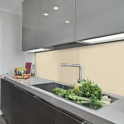 KERABAD Küchenrückwand Küchenspiegel Wandverkleidung Fliesenverkleidung Fliesenspiegel aus Aluverbund Küche Elfenbein Glanz/matt 50x100cm