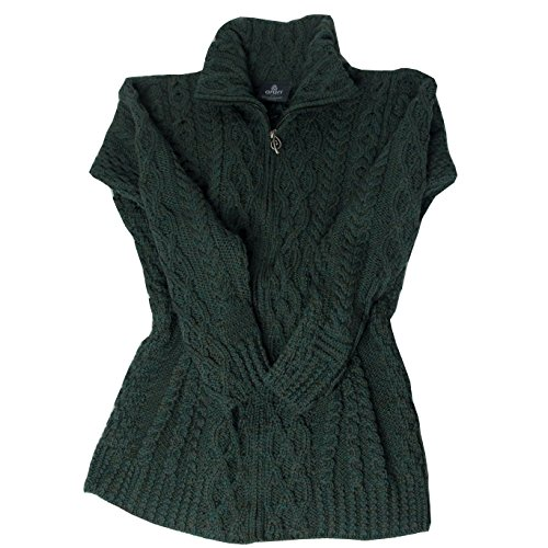 McLaughlin's Irish Shop Dunkelgrüne Irische Damen Strickjacke Merinowolle mit Reißverschluß (L)