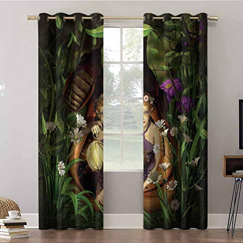 Cortinas de dormitorio, 52 x 63 con aislamiento térmico, cortinas opacas, un elfo femenino sentado con una linterna en un capullo misterioso G, cortinas opacas para dormitorio de niños (2 paneles)