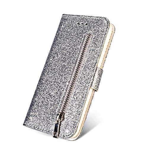 Etui Coque - Funda para iPhone 6 6S 7 8 Plus X XS XR Max 6Plus con TPU brillante piel sintética tipo cartera para iPhone 7 Plus, funda y correas