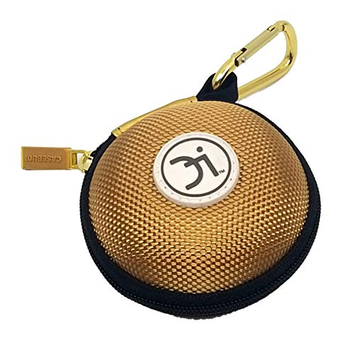 CASEBUDi Round Earbud and Phone Charger Storage Case with Carabiner | Limited Edition Gold Ballistic Nylon