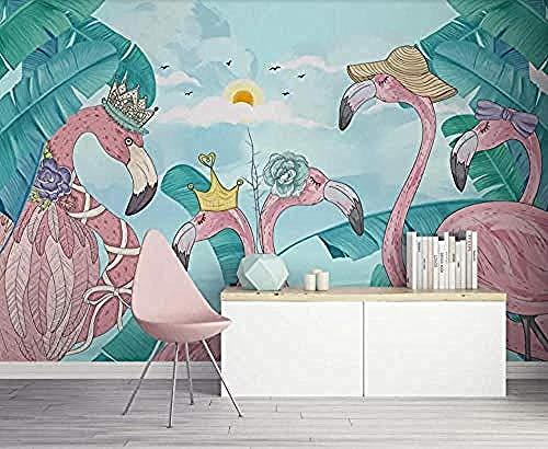 3D Wallpaper muurschildering Flamingo Tropical Plant Flamingo handgetekende muurschildering Wallpaper Modern Wall Wallpaper Wal Muurdecoratie fotobehang 3d behang effect vlies muurafbeelding slaapkamer 200 x 140 cm.