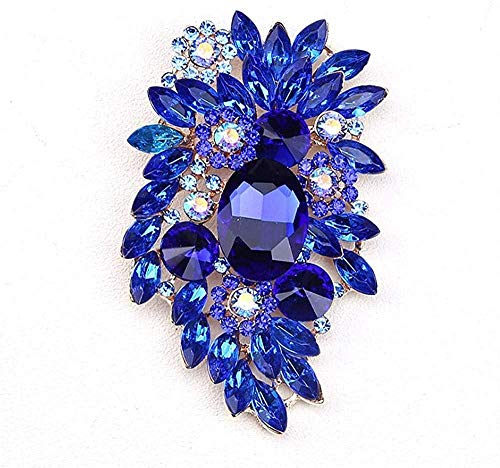 FOPUYTQABG Broche con forma de broche exquisito de estilo moda azul incrustado con piedras de strass para ramo de novia DIY