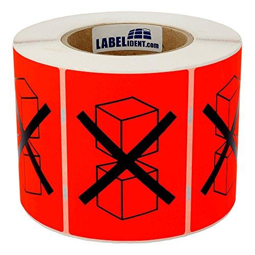 Labelident Warnetiketten auf Rolle 74 x 105 mm - durchgestrichene gestapelte Kartons - Packstück nicht stapeln - 1000 Versandaufkleber auf 1 Rolle(n), 3 Zoll Kern, Papier, leuchtrot