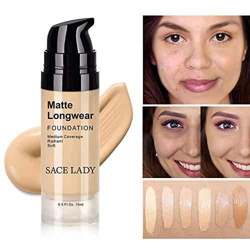 SACE LADY Matte Finish Liquid Foundation, Waterproof Ultra-HD Flawless Fluid Foundation, 0.50Fl Oz/15ml, Light Natural
