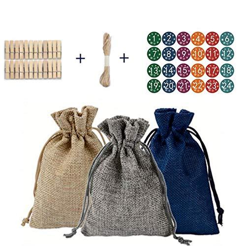 unknow Huaicheng Leinen Jute Geschenkbeutel Taschen Sack Kordelzug Taschen Schmuck Party Weihnachten Lagerung Wrap Hochzeit,Sechsfarbiges digitales Modell